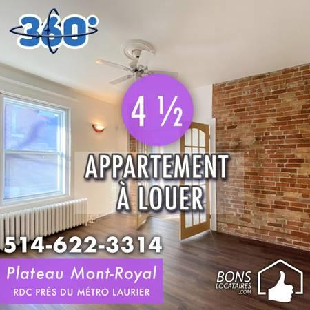 For rent 4 ½ on Plateau Mont-Royal