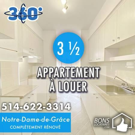 Renovated apartment for rent 3 ½ in NDG